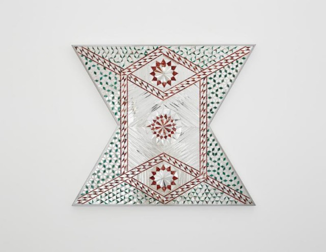 Monir Farmanfarmaian, Untitled (Square), 2011 Mirror, reverse painted glass and plaster on wood, 28 x 31.5 inches
