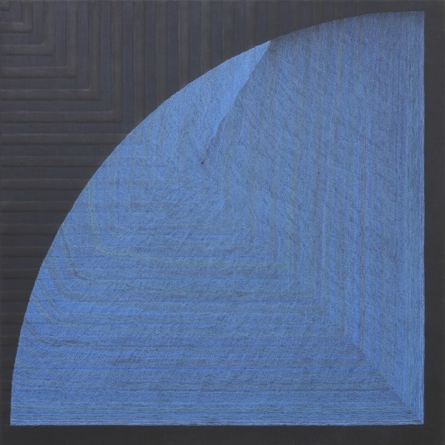 Shell A: Light Blue-Turquoise Blue 5:3:1 colored pencils, color gesso canvas 600 x 600 mm (23 1/2 x 23 1/2 inches)