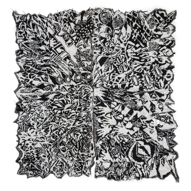 Liv Aanrud, White Rose, Textile, 96 x 90 Inches, 2014
