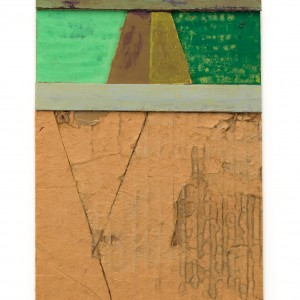 "D.E. May, Untitled, date unknown, found papers, cardboard, tape, gouache, acrylic paint, and graphite, 7 ¾"" x 5 ½"""