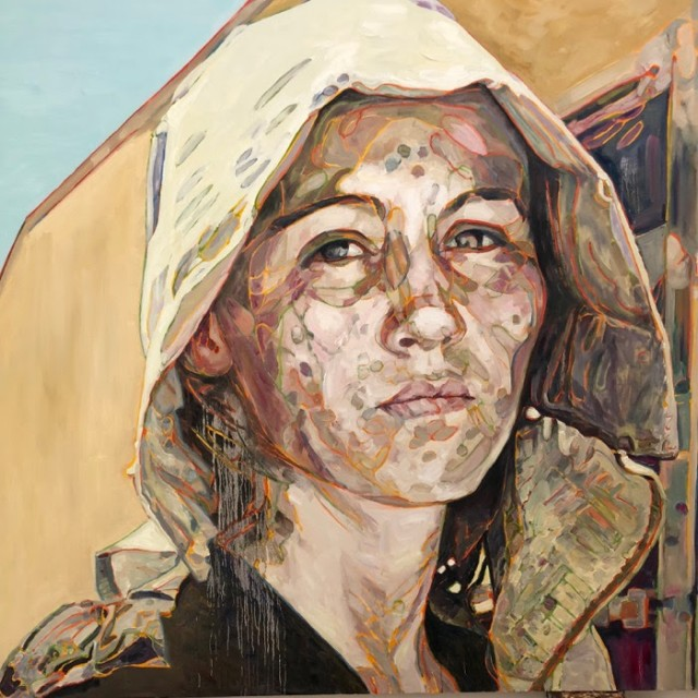 Hung Liu, Portrait: Pea Picker, oil on canvas, 72 x 72 in.