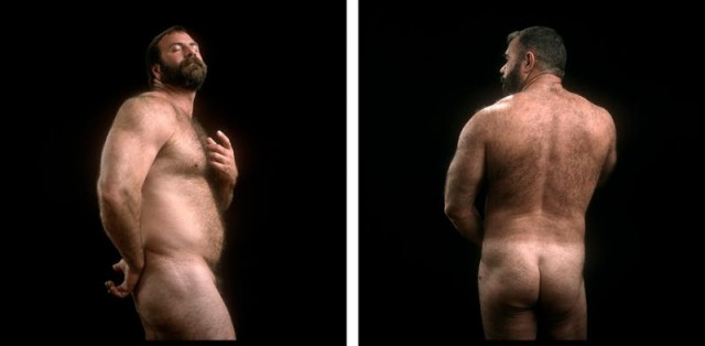 "Chris Komater: Jack Radcliffe (after Bellini) #1, 2002; Mack (after Caravaggio) #6, 2002. Digital C-prints, 30"" x 30"" each"