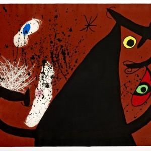 Frappeuse de silex, 1973. Gravure originale en Aquatinte, Carborundum et Eau-forte sur Vélin d'Arches. © Successió Miró, Adagp Paris 2019. Photo Claude Germain / Archives Fondation Maeght.