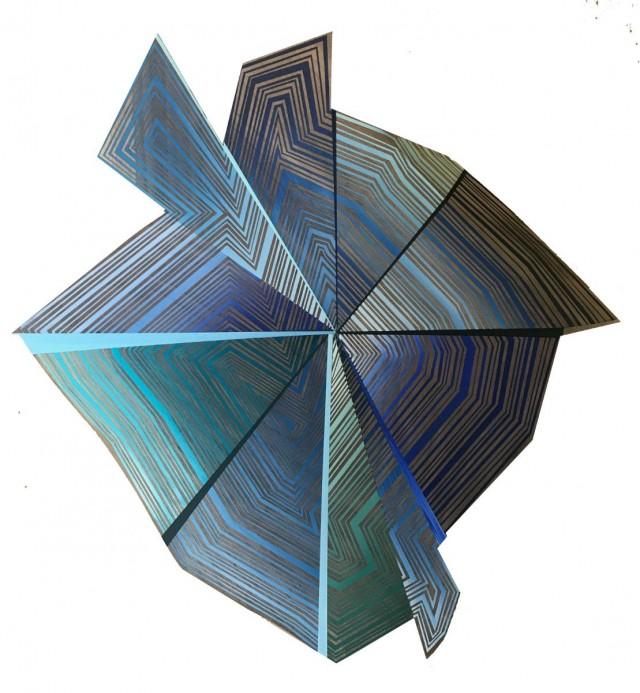 Jason Middlebrook, Blue Money, 2019, Acrylic on Walnut, Ash and Elm, 24.5 x 23.5 x 1.5 inches