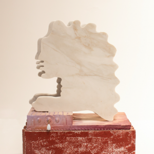 Herma, 2019, Marble, drystone, acrylic, metal, fishing weights, wire, brick, 22 x 16.5 x 8 inches *Image courtesy of CULT Aimee Friberg Exhibitions