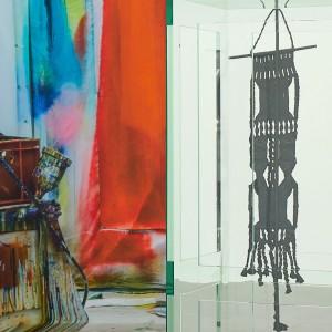 Left: Katharina Grosse, Untitled, 2019 (detail), digital print on silk, 106 3/8 × 236 1/4 × 7 7/8 inches (270 × 600 × 20 cm) © Katharina Grosse and VG Bild-Kunst Bonn, 2019. Right: Tatiana Trouvé, Les indéfinis, 2017–18 (detail), plexiglass, bronze, patina, steel, and paint, 69 5/8 × 53 5/8 × 47 1/4 inches (176.7 × 136.1 × 120 cm) © Tatiana Trouvé