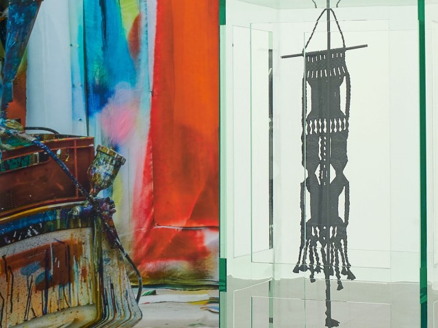 Left: Katharina Grosse, Untitled, 2019 (detail), digital print on silk, 106 3/8 × 236 1/4 × 7 7/8 inches (270 × 600 × 20 cm) © Katharina Grosse and VG Bild-Kunst Bonn, 2019. Right: Tatiana Trouvé, Les indéfinis, 2017–18 (detail), plexiglass, bronze, patina, steel, and paint, 69 5/8 × 53 5/8 × 47 1/4 inches (176.7 × 136.1 × 120 cm) © Tatiana Trouvé