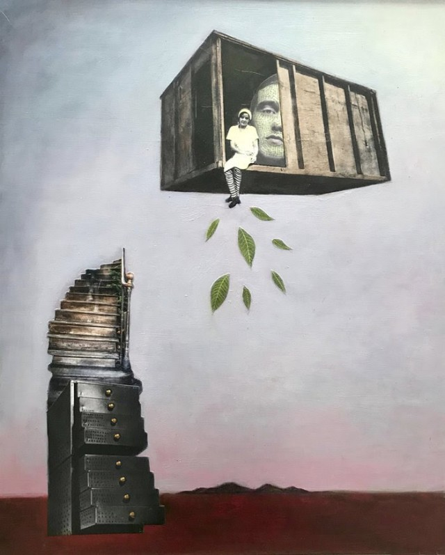 Suzanne Sbarge, Boxcar, mixed media collage on panel, 20.75 x 16.75 in., 2019