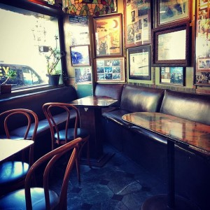 Seats at the from of the bar in Vesuvio in San Francisco