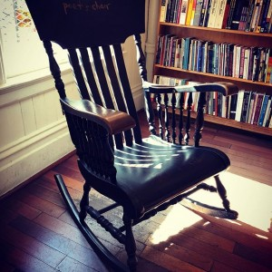 The Poet's Chair upstairs in the Poetry Room in City Lights Bookstore in San Francisco.