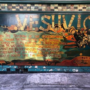The outside wall of Vesuivio on Jack Kerouac Alley in San Francisco.