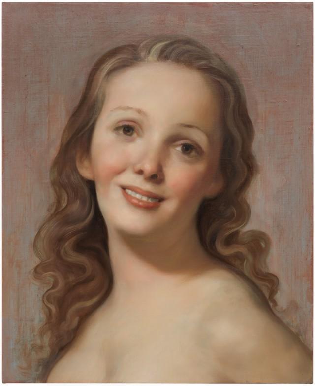John Currin, Untitled, 2019, oil on canvas, 22 × 18 inches (55.9 × 45.7 cm) © John Currin / 約翰.柯林, 《無題》,2019年,油彩畫布,22 x 18 吋(55.9 x 45.7 厘米)© 約翰.柯林