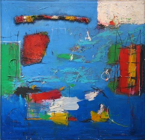 Gustavo Ramos Rivera Aqua Pressura (Pressurized Water), 1981 oil, burlap, rope, collage canvas 42 x 44 inches
