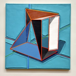 Tommy Fitzpatrick, Simulated Structure, 2019, oil, acrylic on canvas on panel, 14 x 14 inches: © Tommy Fitzpatrick. Courtesy of Holly Johnson Gallery, Dallas, Texas