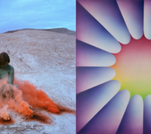 Judy Chicago, Immolation, from the series Women and Smoke, 1972; Through the Flower 2, 1973.