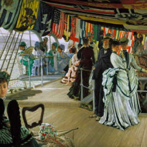 "James Tissot, ""The Ball on Shipboard,"" ca. 1874. Oil on canvas, 33.125 x 51 in. (84.1 x 129.5 cm). Tate Britain"