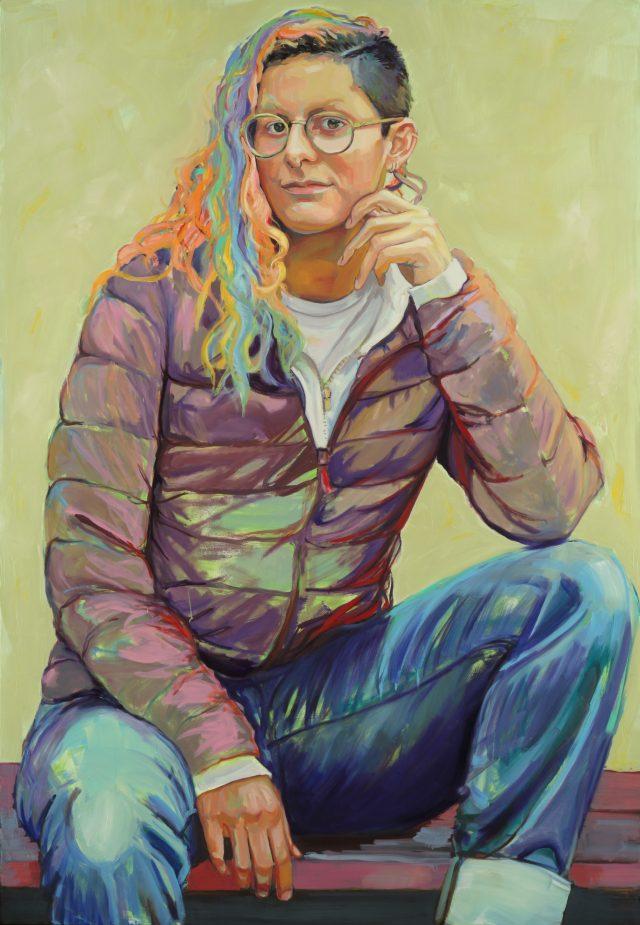 "Nina Katz, Aza (they/them), 2019, oil on wood panel, 65"" x 45"""