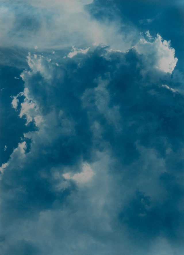 Untitled, (4.5 billion years a lifetime clouds #5), 2019, cyanotype, 29 x 40 inches