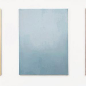 Joan Winter, Day Break, Noon, and Sundown, 2020, Oil on linen, 48 x 36 inches each Joan Winter, Blue Mist, 2020, Oil on linen, 18 x 18 inches © Joan Winter. Courtesy of Holly Johnson Gallery, Dallas, Texas