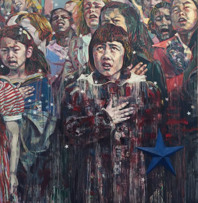 Pledge of Allegiance, 1942, 2019, oil on canvas, 72 x 72 inches