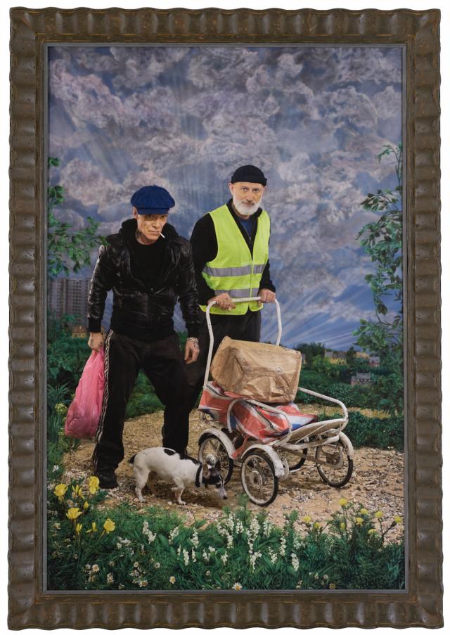 Pierre et Gilles, Bonjour Pierre et Gilles (Self-portrait), 2020, ink-jet photograph printed on canvas and painted, framed by artists, 163 x 114 cm, 64 1/8 x 44 7/8 in., unique