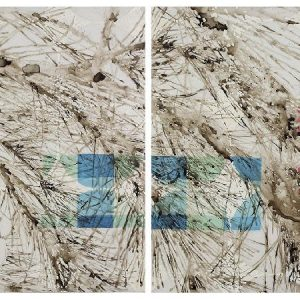 Katina Huston | Bends but Does Not Break | Ink, acrylic and oil paints on mylar | 36 x 72 inch diptych