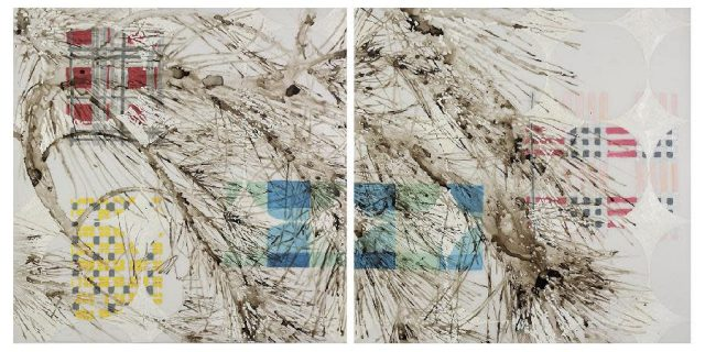 Katina Huston   Bends but Does Not Break   Ink, acrylic and oil paints on mylar   36 x 72 inch diptych