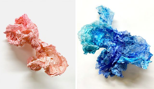 "Left to right: Andrea Brewster, Untitled (pink) (2020), wet formed vellum paper, colored pencil, 5"" x 8"" x 5"" Untitled (blue 2) (2020), wet formed vellum paper, colored pencil, 4"" x 6"" x 5"" photos by artist"