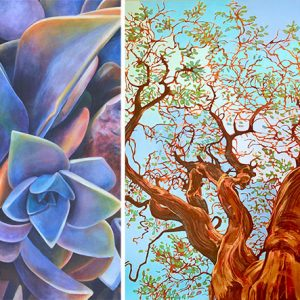 "Left to right: Tara Esperanza, California Sunset (2020), acrylic on canvas, 52"" x 42"" photo by artist; and Fernado Reyes, Manzanita Magnificent (2020), oil on canvas, 48"" x 48"" photo by artist"