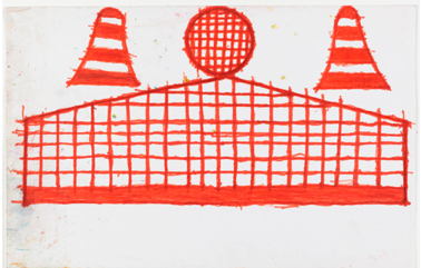 Evelyn Reyes Fence with Sandwich (Orange), 2004.