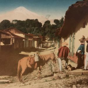 "Hugo Brehme, Pico de Orizaba, Mexico, c. 1920, 12.75 x 17.5"", Hand colored gelatin silver print."