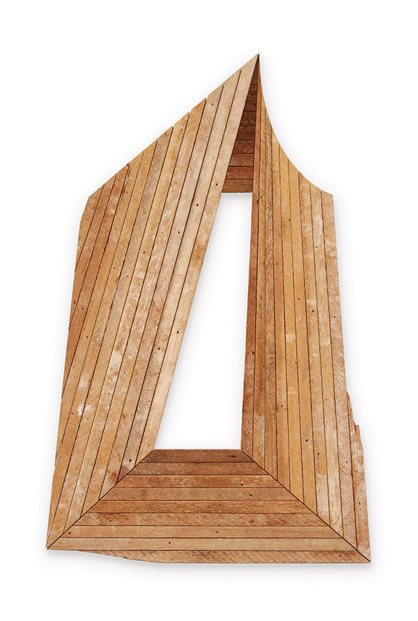Andy Vogt, Eyedoor 6, 2020, salvaged wood lath, 55 x 39 inches