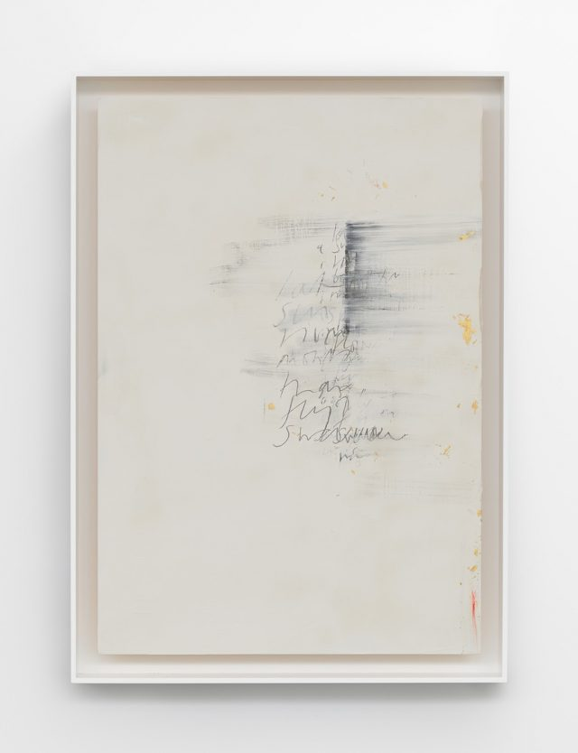 Edmund de Waal, Wu-chüeh: two poems, 2020, kaolin, gold leaf, graphite, compressed charcoal, and oil stick on ash, in aluminum frame, 36 1/4 × 26 × 3 inches (92 × 66 × 7.5 cm) © Edmund de Waal / 艾德蒙‧德瓦爾,《絕句二首》,2020年作,高嶺土,金箔,石墨,壓縮木炭,油彩棒,灰燼,鋁框,36 1/4 × 26 × 3吋(92 × 66 × 7.5厘米)©艾德蒙‧德瓦爾