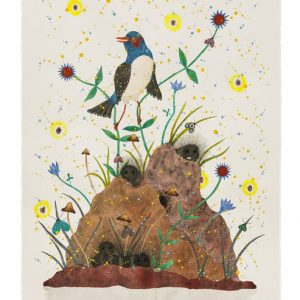 "Justin L'Amie Bird on a Hill, 2020 watercolor, gouache, sumi ink, and walnut ink on paper 30"" x 22"""