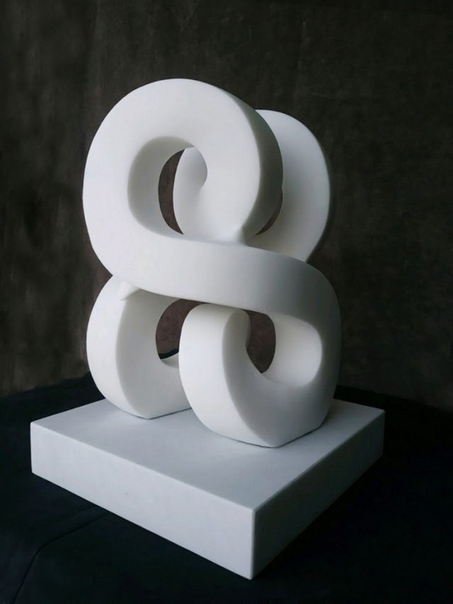Paul Bloch | Milky Way | Carrara Marble on Marble Base | 16 x 12 x 12 inches