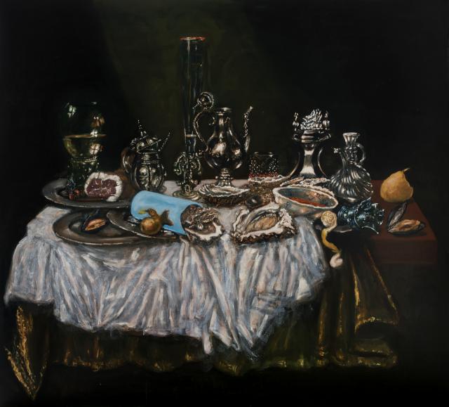 Jan Van Imschoot, La feuille verte, 2019, oil on canvas, 170 x 190 cm, 66 7/8 x 74 6/8 in.