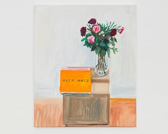 Alex Katz and flowers, 2021. Oil on canvas, wood frame . 55 × 46 × 2 cm | 21 5/8 × 18 1/8 × 0 13/16 inch. © Photo Claire Dorn. Courtesy of the artist and Perrotin